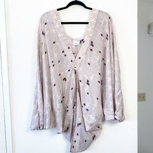 Free People Dusty Lavender Patterned Kimono OS